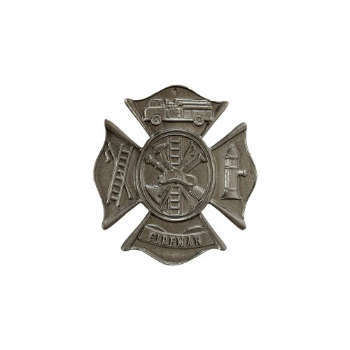 Montague Metal Products Fireman Maltese Cross Wall Plaque, Swedish Iron