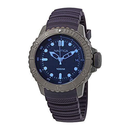 Watch Resin Case Dive (Nautica Men's 'NMX DIVE STYLE DATE' Quartz Stainless Steel and Silicone Casual Watch, Color:Dark Blue (Model: NAD20509G))