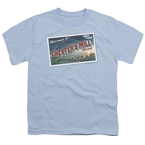 Postcard Dome - Under The Dome Postcard Unisex Youth T Shirt for Boys and Girls, Medium Light Blue