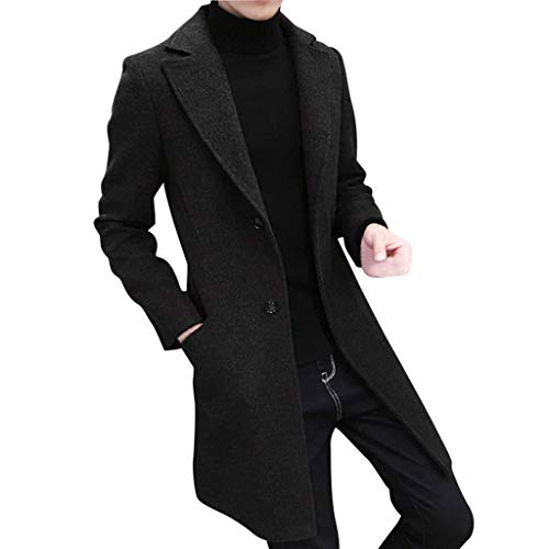 Single Slim Red Color Dvd (Men Long Formal Wool Coats Jacket Single Breasted Solid Color Slim Overcoat Handsomeman Turn-Down Collar Long Outwear)