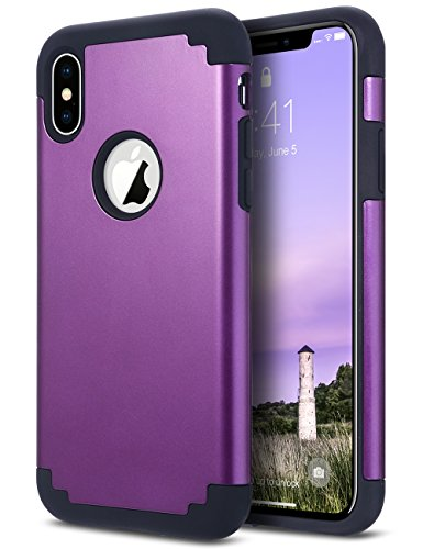 ULAK Case for iPhone Xs 5.8 Inch 2018, iPhone X 2017, Slim Fit Heavy Duty Protection Hybrid Soft Rubber & Silicone Hard PC Back Cover Shock Absorption Support Wireless Charging, Purple