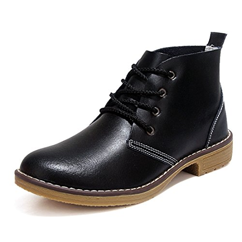 O&N Women's Girls Leathers Lace Up Low Heel Ankel Shoes Chunky Martin Boot Black
