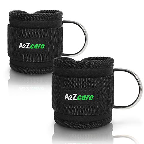A2ZCARE Padded Ankle Strap for Cable Machines | D-Ring Ankle Cuff Gym Accessories for Workouts – Ankle Strap Cable…