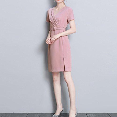 Abito Pink Scollo Vestibilità Pieghe Con Donna Lavoro Da Casual V A Slim Qscg gOpSxg