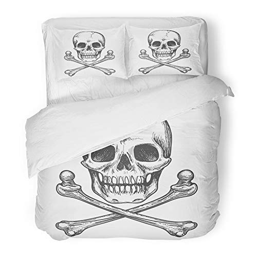 Emvency Bedding Duvet Cover Set King Size (1 Duvet Cover + 2 Pillowcase) Bone Skull and Crossbones for Tattoo Biker Jacket Cross Vintage Halloween Skeleton Hotel Quality Wrinkle -