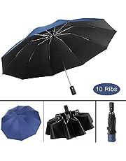 Waliwell Paraguas Automático de Viaje, Paraguas Invertido con 10 Costillas, Paraguas Plegables para Hombre y Mujer, Paraguas de Lluvia & Sombrilla & Protección UV, 105cm, Azul Marino