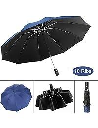 Waliwell Paraguas Automático de Viaje, Paraguas Invertido con 10 Costillas, Paraguas Plegables para Hombre y Mujer, Paraguas de Lluvia & Sombrilla & Protección UV, 105cm