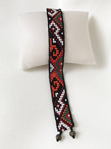 Loom Work Beaded Bracelets - Ukraine Ethnic Loom Bead Cuff Bracelet, Ukrainian Bracelet, Loom Beaded Bracelet, Bead Cuff Bracelet, Loom Bead Jewelry, Native Jewelry