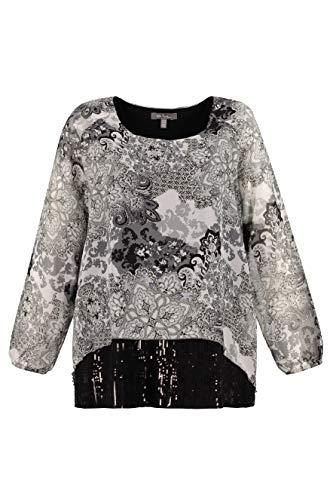 Ulla Popken Women's Plus Size Chiffon Layered Print Blouse Black Multi 12/14 719738 10 ()
