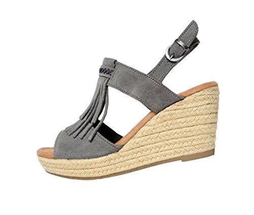 Minnetonka Womens Ashley II Wedge Sandal, Grey Suede, Size 9