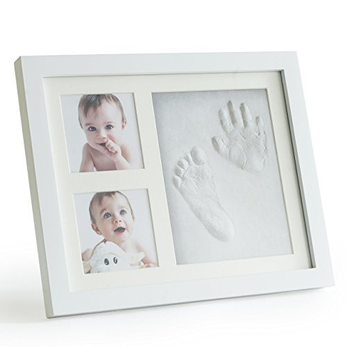 Up & Raise Premium Clay Baby Footprint & Handprint Picture Frame Kit - Safe and Non-Toxic Clay | Elegant Glass/Solid Wood | Perfect New Baby Boy/Girl Baby Shower Gift for $<!--$16.98-->