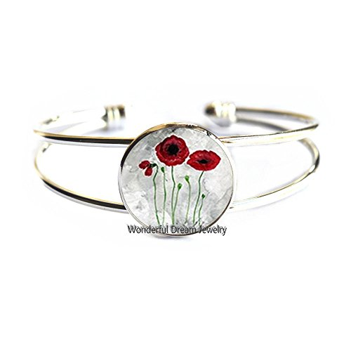 (Waozshangu Red Poppies Bracelet, Poppies Bangle, Art Bracelet, Red Poppy Jewelry,Red poppies Bracelet, Floral Bangle,PU047 (Silver))