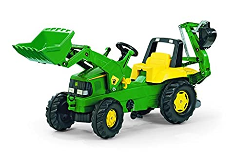 rolly toys John Deere Pedal Tractor with Working Loader and Backhoe Digger, Youth Ages 3+ - Kettler Push Bar