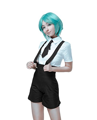 Nuoqi Land Of The Lustrous Cosplay Costume Womens Anime Gems Suit Full Set CC3818A, White-black, Large