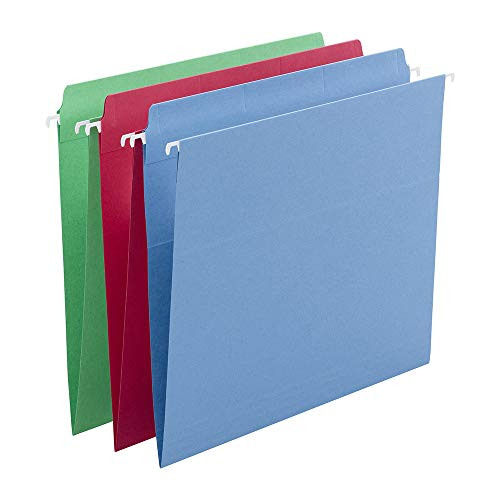 Smead FasTab Hanging File Folder, Straight-Cut Built-in Tab, Letter Size, Assorted Colors, 18 per Box (64100)