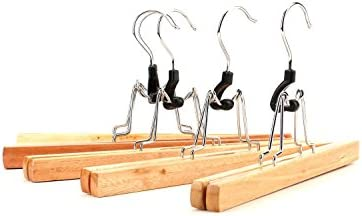 Tosnail Solid Natural Wood Collection Skirt Hangers  Clips,Slack,Pant Hangers