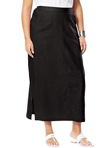 Jessica London Women's Plus Size A-Line Linen Skirt Black,28 (Flat Front Linen Skirt)