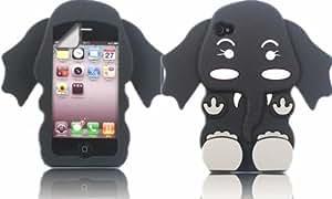 Elephant Silicona Cubrir Caso Piel Y Pantalla LCD De Guardia Para Apple iPhone 4 4S / Black