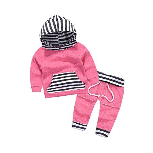 Girls Striped Hoodie - Mikrdoo Autumn Outfit Set Newborn Baby Boy Girl Striped Hoodie Pocket T-Shirt Pants Kids Clothes (6-12M, Pink)