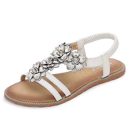 Avish Women's T-Strap Beaded Flower Flat Sandals Bohemia Summer Beach Shoes(9 B(M) US,White) -