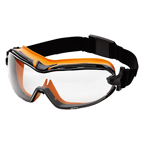 Sellstrom S82500 GM500 Clear All-Purpose Goggle, Polycarbonate , UV Protection, FR Head Band, OTG, Orange/Black by Sellstrom