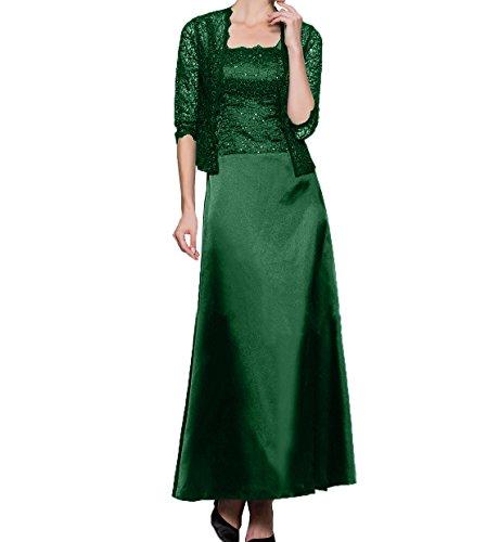 Charmant Partykleider Spitze Damen Gruen Promkleider Jaket Abendkleider mit Dunkel Festlichkleider Brautmutterkleider Knoechellang ZUSrZ