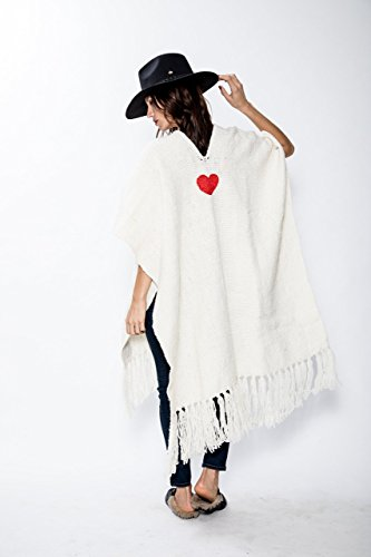 Heart embroidered ruana with fringes 100% Handmade Pure sheep wool, spun by hand by artisans of Argentina