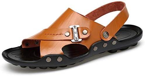 靴メンズファッションサンダルカジュアルソフト本革デュアルパーパスレジャーアウトドアビッグサイズスリッパ