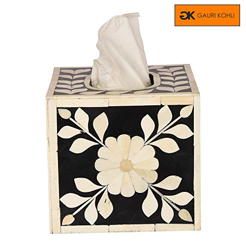 GAURI KOHLI Beautiful Hand Crafted Bone Inlay Decorative Tissue Box Cover in Midnight Black Color (Large Size | 6