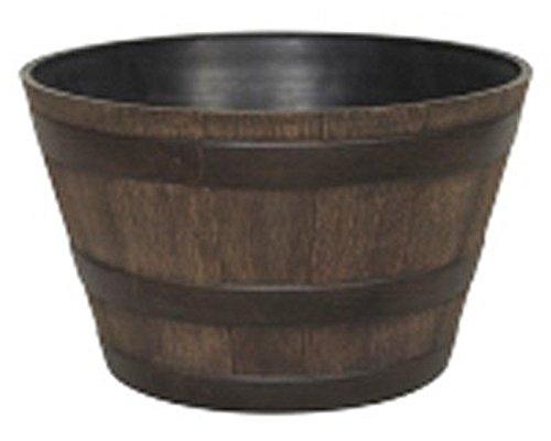 Whiskey Barrel Resin Planter - Walnut - 22.5 In