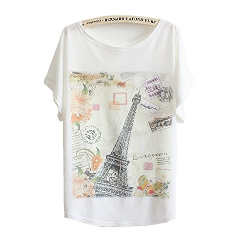 DQdq Women's Summer T-shirt Bat-wing Short Sleeve Paris Iron Tower Print Top Small White