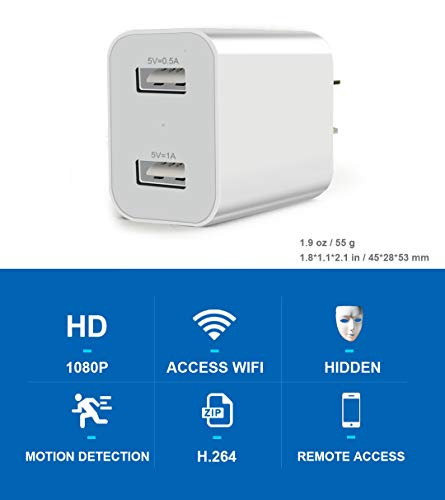 Spy Camera Wireless Hidden WiFi Camera with Remote Viewing, 2019 Newest Version 1080P HD Nanny Cam/Security Camera Indoor Video Recorder Motion Activated, Support iOS/Android, White, No Audio by TOQI (Image #1)