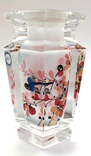 Rose-Breasted Grosbeak Birds Hand-Painted Crystal Vase - 6.5