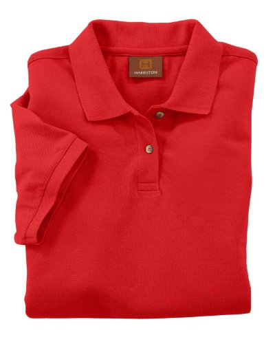 Harriton Ladies' 6 oz. Ringspun Cotton Pique Short-Sleeve Polo, Red, 2XL