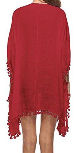 Crochet Pompons Manches Courtes Couvrent Rouge Robe Cromoncent Femmes Été V-cou