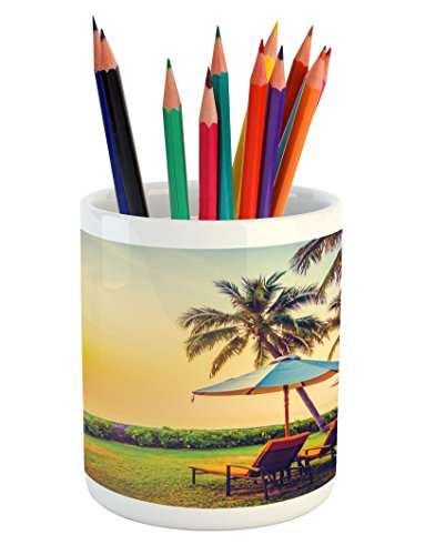 Lunarable Seaside Pencil Pen Holder, Empty Umbrella and Chairs on The Beach Palm Trees at Twilight Times Vacation Theme, Printed Ceramic Pencil Pen Holder for Desk Office Accessory, Multicolor ()