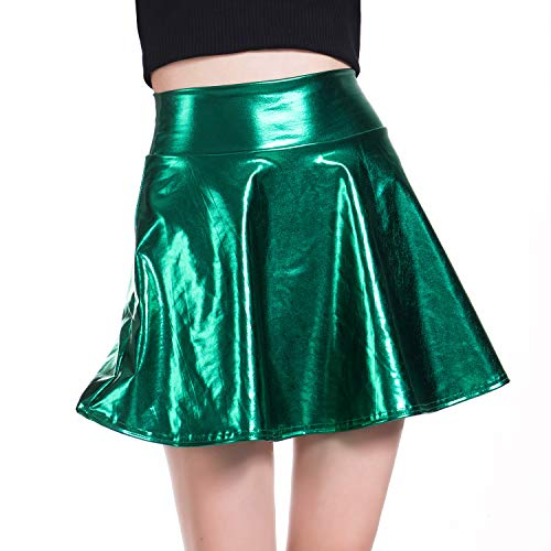 Women's Casual Elasticity Metallic Flared Pleated A-Line Circle Skater Shiny Skirt (Green, Small)]()