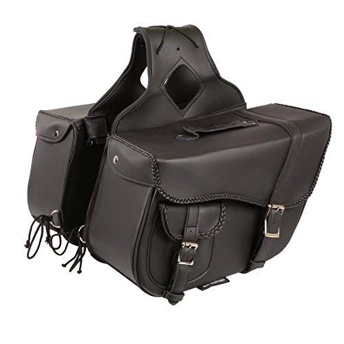 - Milwaukee Performance SH66501ZB Black Medium Braided Zip-Off PVC Throw Over Saddle Bag with Bonus Pocket