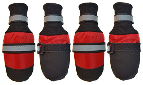 Paw Protector Dog Boots for Rain, Snow, Salt & Heat (Red, Small - 2