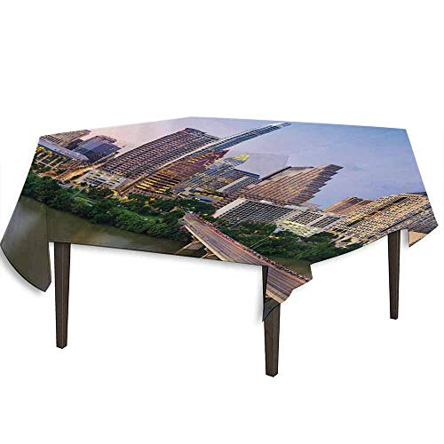 kangkaishi Modern Printed Tablecloth Austin Texas American City Bridge Over The Lake Skyscrapers USA Downtown Picture Outdoor and Indoor use W70 x L70 Inch Multicolor]()