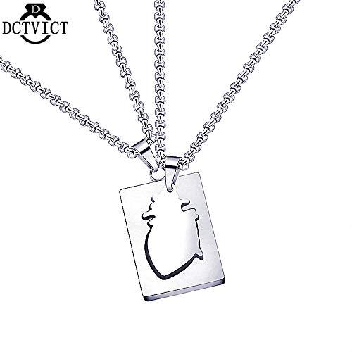 Metal Color: Titanium Plated Davitu Titanium Steel Jewelry Human Heart Necklace Set Women Men Jewelry Lovers Unisex Pendant Colar Masculino 2018 Punk Necklace