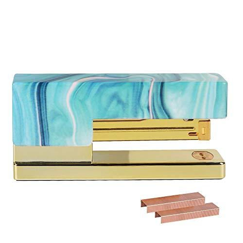 - Heavy Duty Handheld Stapler Light Blue Cover Metallic Rod with 950PCS 26/6 24/6 Standard Size Rose Gold Staples Set Office Desktop Stationery