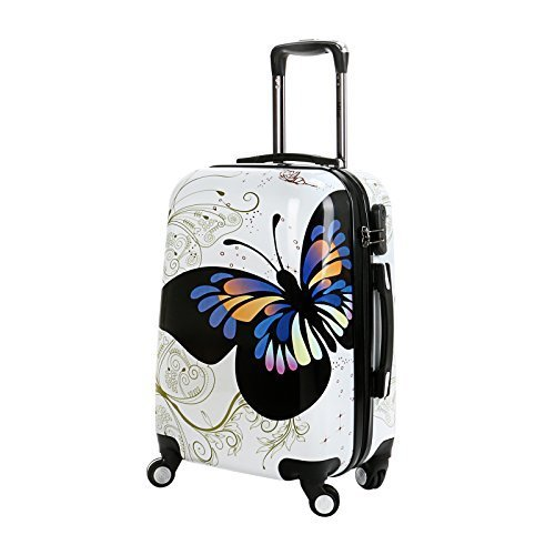 20-in-White-Butterfly-Upright-Spinner-Travel-Luggage-Suitcase-4-Wheel-Cabin-Trolley-Set-by-WindMax