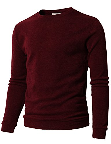 H2H Men's Slim Fit Muscle T-Shirts Crew Neck Long Sleeve Knit Pullover Sweater Wine US 4XL/Asia 5XL (KMTTL0450)