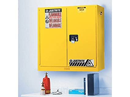 Superbe Justrite 893400 Flammable Safety Cabinet, 20 Gal, Yellow