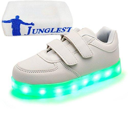 (Present:kleines Handtuch)JUNGLEST® Unisex Kids Wiederaufladbare LED leuchten Sportschuhe Luminous Flashing Glow Turns Weiß