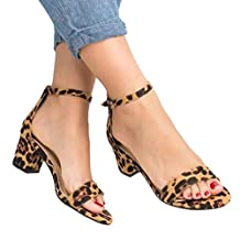Amlaiworld Women Sandals Shoes Summer Sexy Leopard Print Sandals Ladies Ankle One Word Buckle Thick Heel Sandals
