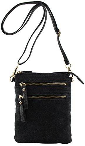 Pleated Top Zip Wristlet (Amy&Joey denim fabric multi pockets cross body bags with wristlet strap (Black denim-tall))