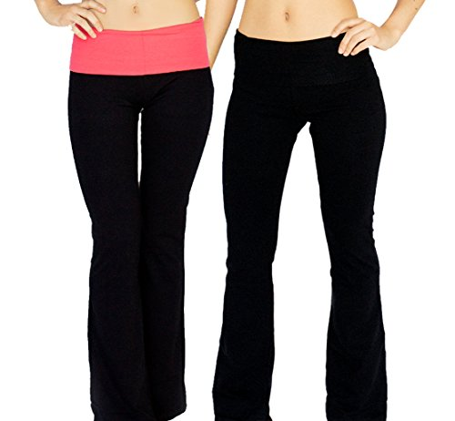 a89672b1d0e366 Popular Basics Women's Cotton Yoga Pants With Fold Down Waist (Medium, 2  Pack: Black and Black-Neon Coral) with Appleletics Sticker - Buy Online in  Oman.