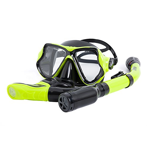 FYU Snorkel Set with Tempered Glass Dry Top Snorkel Set/Anti-Fog Lens, Diving Mask for Adults Women Men Snorkeling Diving (YW-BK2/Double Lens)
